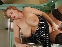 Full body mature takes young cock in her kitchen tubes
