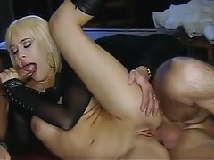 Euro bitch in boots nailed by two guys tubes