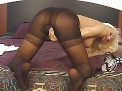 Girls in pantyhose use Sybian to get off tubes