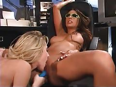 Horny lesbians in the office have luscious sex tubes