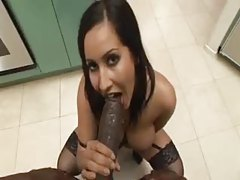 Seductive girl with big tits sucks black cock tubes