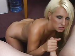 Blonde in his office strokes his cock tubes