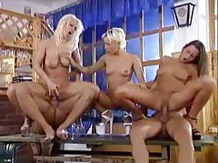 Pissing and fucking in a crazy hot fivesome tubes