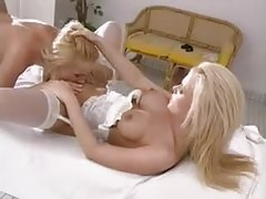 Glamorous Euro blondes finger and eat pussy tubes