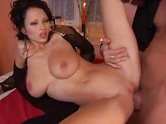 Sexy big tits Euro chick nailed at dinner tubes