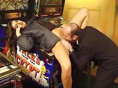 Girl on pinball machine fucked tubes