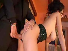 Blowjob at dinner from busty Euro girl tubes