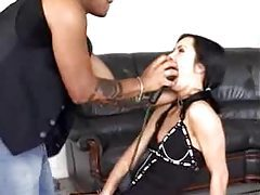 Sub slut lets him fuck her mouth with toys tubes