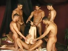 Skinny Asian lets them have her in a gangbang tubes