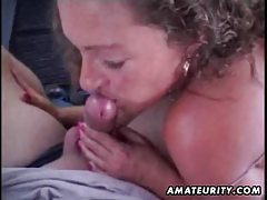 Mature amateur wife sucks and fucks in a car with facial cumshot tube