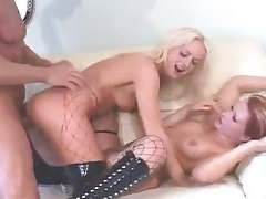 Bitches in latex boots fucked in threesome tubes