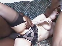 Stockings and panties slut fucked in BBC threesome tubes