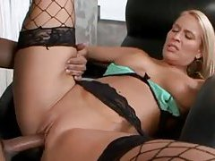 Curvy blonde has a great big ass and a cock inside her tubes