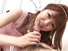 Japanese brunette blows him and he eats her out tubes
