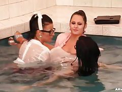 Three hot women in the pool tubes
