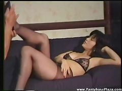 He must worship her feet in pantyhose tubes
