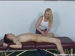 Bound dude gets a rough handjob tube