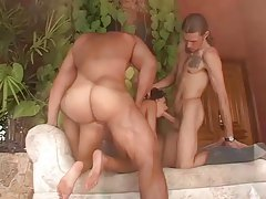Breathtaking body on slut in bisexual threesome tubes