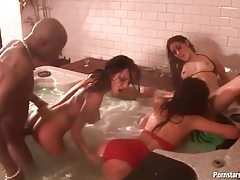 Bitches in the hot tub enjoy his black dick tubes