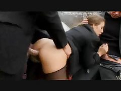 Slutty schoolgirl suck and fuck bent over a car tubes