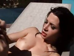 Pretty girl on the pool deck suck and fuck tubes