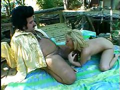 Fat Ron Jeremy fucks a milf outdoors tubes