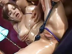 Oiled up Asian bikini girl fondled and fingered tubes