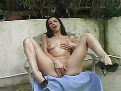Slick body girl masturbates her shaved vagina tubes