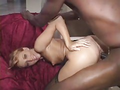 Pounding his black cock deep into her white pussy tubes