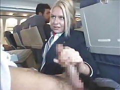 Customers get handjob from stewardess tubes