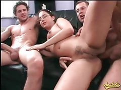 Nerd in glasses hardcore threesome with facials tube