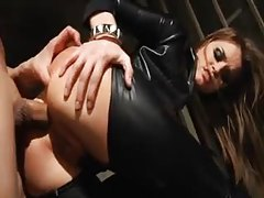 Head to toe leather for super hot Tori Black tubes