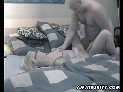 Blonde amateur girlfriend sucks and fucks with creampie tubes