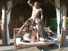 Black stud blown by two deepthroat bitches outdoors tubes