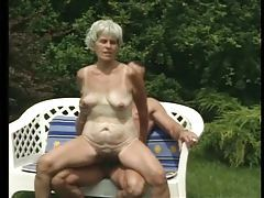 Hairy bush granny fucked in the grass tubes