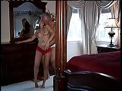 Milf in sexy red lace panties turns him on tubes