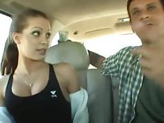 Cute sporty girl in a car sucks cock tubes