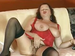 Hairy mature in lingerie loves toy sex tubes