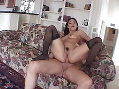 Butt fucking stockings slut and messy facial tubes