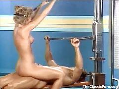 Fucking an 80s gym girl in retro video tubes