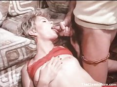 Hot slut in stockings and garters blows him tubes