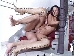 Glamorous girl in sexy boots boned tubes