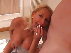 Cumshots glaze the tits of the busty British milf tubes