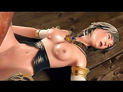 Beautiful 3d girl played with by monster tubes