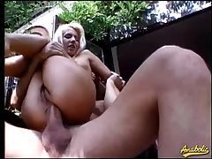Blasting hairy retro asshole outdoors tubes