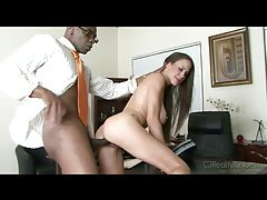 Unhappy hubby witnesses huge tits wife go black tubes