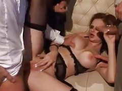 Glamorous European in stockings fucked hard in backroom tubes