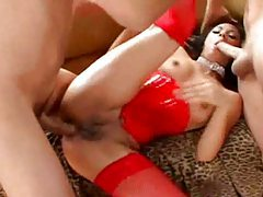 Latex corset and stockings girl fucked in group tubes