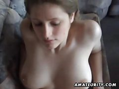 Busty amateur girlfriend sucks and fucks with facial cumshot tubes