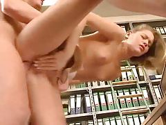 Sex with perfect skinny girl in office tubes